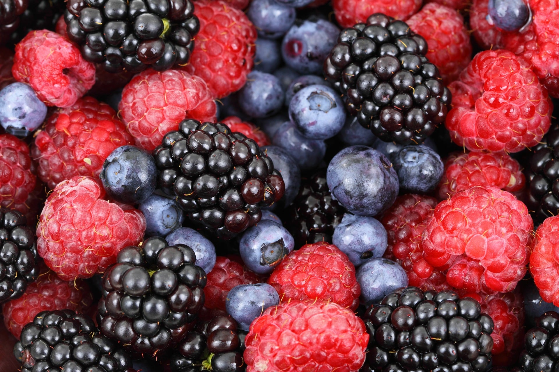 blackberries, blueberries and raspberries