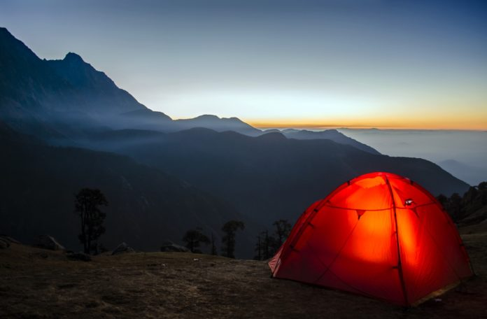 tent camped in a mountain